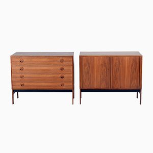 Danish Mid-Century Teak Wood Chest and Credenza, 1955