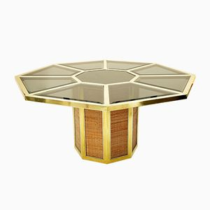 Octagonal Brass & Smoked Beveled Glass Table by Romeo Rega, 1965