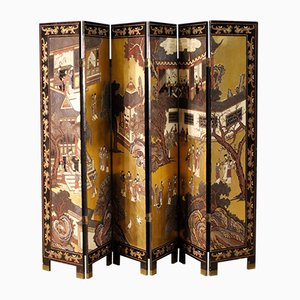 Vintage French Painted Chinoiserie Screen, 1920s