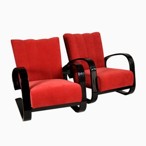 Vintage Red Armchairs by Alvar Aalto, Set of 2