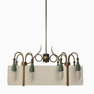 Italian Mid-Century Sanded Glass & Brass Chandelier