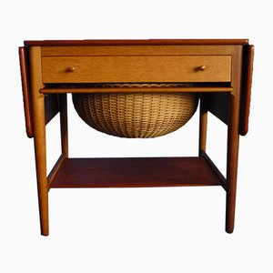 AT-33 Teak & Oak Sewing Table by Hans J. Wegner for Andreas Tuck, 1950s