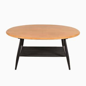 Coffee Table with Black Wooden Base by Lucian Ercolani for Ercol, 1950s