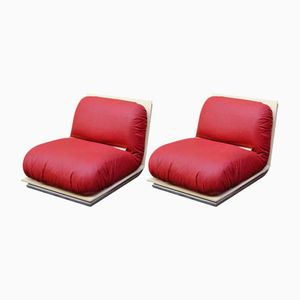 Easy Chairs in Lacquered Wood, Brass and Chromed Metal, 1970s, Set of 2