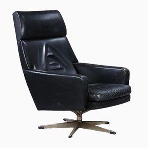 Fauteuil Vintage en Cuir Noir, Danemark