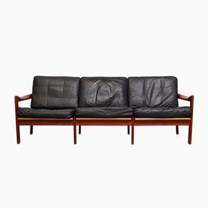 Mid-Century Teak & Leather Sofa by Illum Wikkelsø for Niels Eilersen