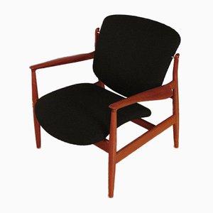Model 136 Solid Teak Lounge Chair by Finn Juhl for France & Søn, 1950s