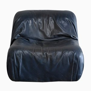 Vintage Lounge Chair in Dark Blue Leather from de Sede