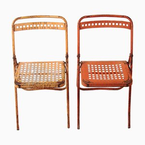 French Ville de Six Fours Les Plages Folding Chairs, Set of 2