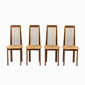 Italian Oak and Straw Dining Chairs, 1950s, Set of 4