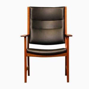 Mid-Century Armlehnstuhl aus Mahagoni & Schwarzem Leder von Hans J. Wegner für Johannes Hansen
