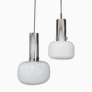 Lampes à Suspension en Verre Opalin de Glashütte Limburg, Allemagne, 1970s, Set de 2