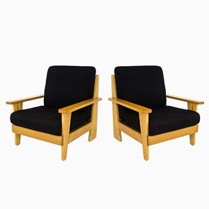 French Oak Armchairs, 1960s, Set of 2