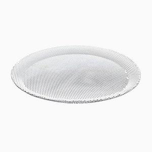 Weiß Emaillierter Teller aus Metall von Mathieu Matégot für Artimeta, 1950er