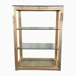 Italian Chrome, Glass, and Brass Shelf by Romeo Rega, 1970s