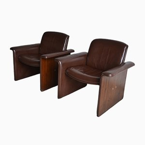 Italian Curved Rosewood & Leather Armchairs, 1970s, Set of 2