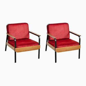 Vintage French Red Easy Chairs, Set of 2