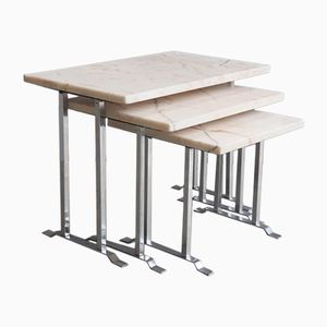 Mid-Century Marble and Chrome Nesting Tables