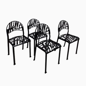 Chaises Hello There Noires Vintage par Jeremy Harvey pour Artifort, Set de 4