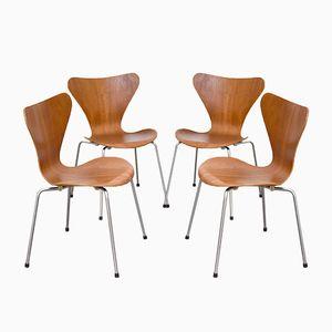 Series 7 Teak Dining Chairs by Arne Jacobsen for Fritz Hansen, 1967, Set of 4