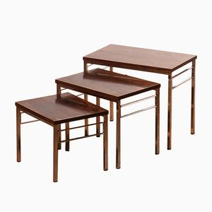 Rosewood & Chrome Nesting Tables, 1960s
