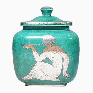 Urne Argenta Vintage en Céramique avec Couvercle par Wilhelm Kåge pour Gustavsberg