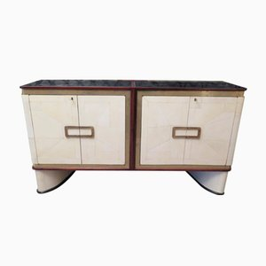 French Sideboard in Parchment and Brass, 1930s