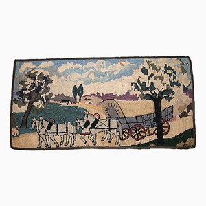Antique American Hooked Handmade Rug with Horses, 1880s