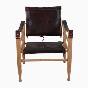 Mid-Century Dark Brown Safari Chair by Børge Mogensen