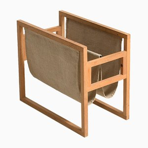 Vintage Oak Magazine Rack by Kai Kristiansen for Sika Møbler