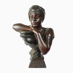 Art Nouveau French Rebecca au Puits Bronze Bust by Emmanuel Villanis, 1900s