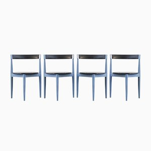 Vintage Danish Blue Dining Chairs by Hans Olsen for Frem Røjle, Set of 4