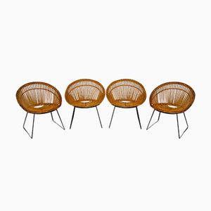 Mid-Century Wicker Chairs, 1950s, Set of 4