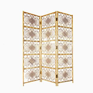 Mid-Century Three-Panel Wicker Room Divider, 1950s