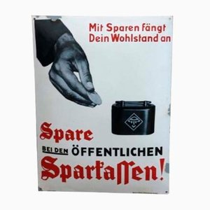 Enameled Sparkasse Sign from C. Robert Dold, 1930s