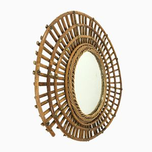Vintage French Bamboo Frame Mirror