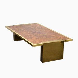 Table Basse Vintage en Laiton et Noyer, Italie, 1970s