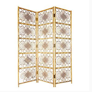 Mid-Century Three-Panel Wicker Room Divider
