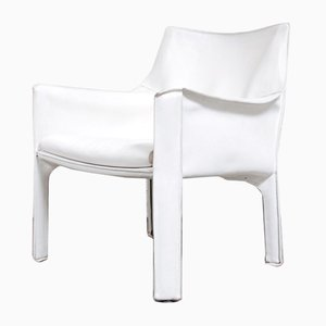 Vintage White Cab 414 Lounge Chair by Mario Bellini for Cassina