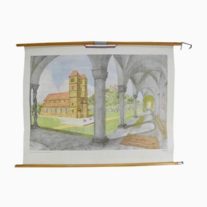 Vintage School Wall Chart of Romanesque Architecture by Dr. Schwankl for Georg Westermann Verlag