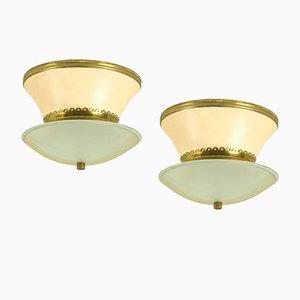 Italienische Deckenlampen von Stilnovo, 1940er, 2er Set