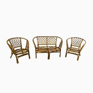 Vintage Italian Wicker Seating Group, 1950s