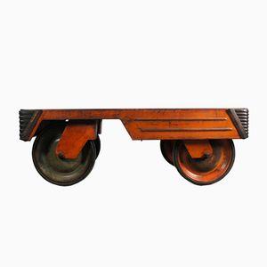 Industrieller Orangenfarbener Stahl Couchtisch