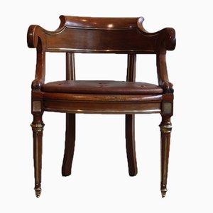 Antiker Französischer Mahagoni Schreibtischstuhl