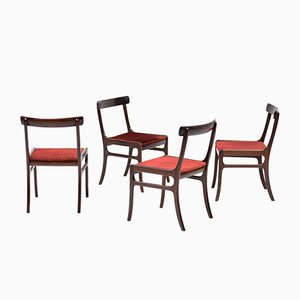 Vintage Mahogany Rungstedlund Chairs by Ole Wanscher for Poul Jeppesen, Set of 4