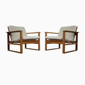 Vintage 2256 Oak Lounge Sled Chairs by Børge Mogensen for Fredericia Stolefabrik, Set of 2