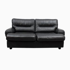 Vintage Black Leather 2-Seater Lounge Sofa, 1970s