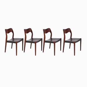 Mid-Century Model 71 Rosewood Chairs by Niels O. Møller for J.L. Møllers, Set of 4