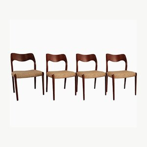 Model 71 Teak Dining Chairs by Niels Otto Møller for J.L Møllers, 1950s, Set of 4