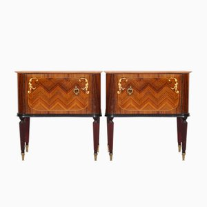 Italian Rosewood Nightstands with Marble Tops, 1950s, Set of 2